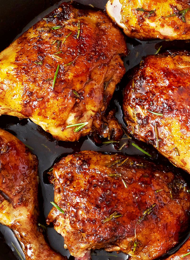 Balsamic Honey Skillet Chicken Legs What S For Dinner Chicken Skillet Recipes Chicken Leg