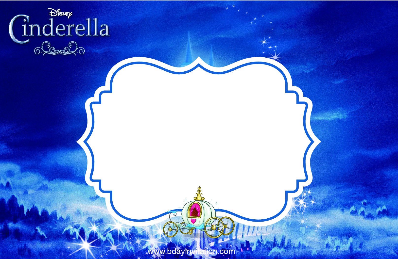 Awesome FREE Printable Disney Cinderella Party Invitation Template