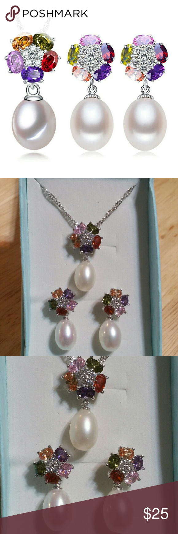 🌷NEW! Fashion Jewelry Set 925 Sterling Silver🌷 🌻New without Tags  Fashion Jewelry Sets Natural Freshwater Pearls 925 Sterling Silver Flower Earrings and Necklace 🍁Pearl Size : Approx.  8-9mm 🍁Pearl Type: Freshwater Pearls  🍁Chain Size: Approx. 17-18 inches  ✔All Reasonable Offers Accepted  ✔Bundle Discounts!💲💲💲 Thank you for stopping by!  Make an offer!👍 Jewelry