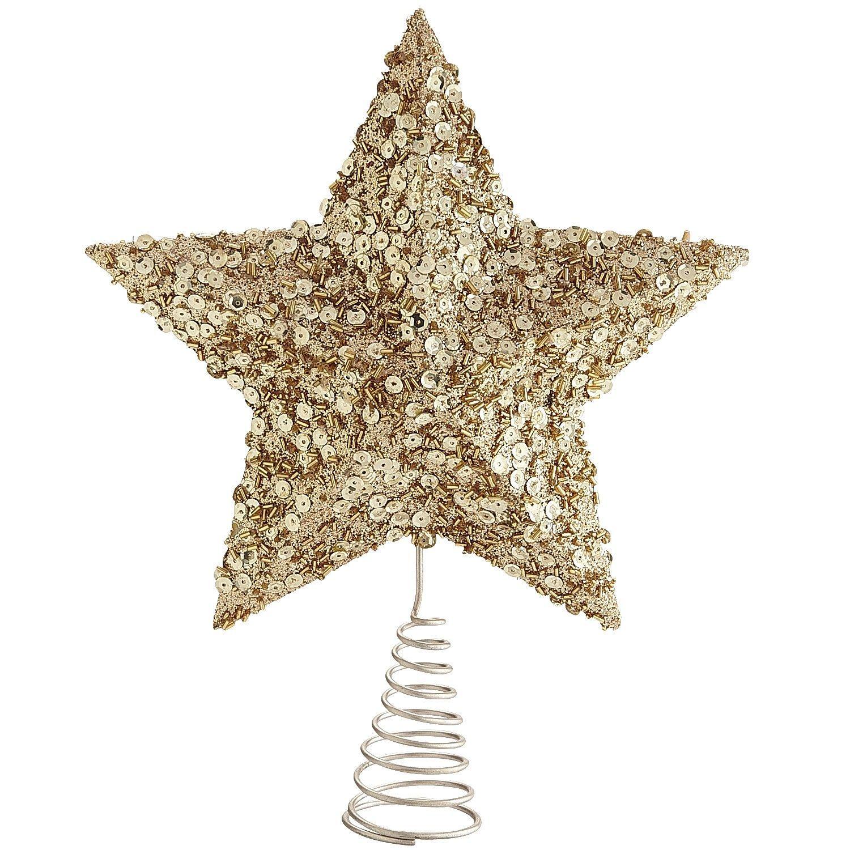Glittered Star Tree Topper Gold Star Tree Topper Christmas Tree Star Topper Gold Christmas Tree Topper
