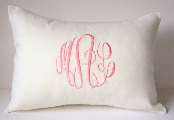 Custom Monogrammed Pillow Cover Made To Fit A 12 X 16 Decorative Throw Pillow Wedding Gift 2nd Anniversary Gift Personalized Baby Gift Monogram Pillows Custom Baby Pillow Custom Baby Gifts