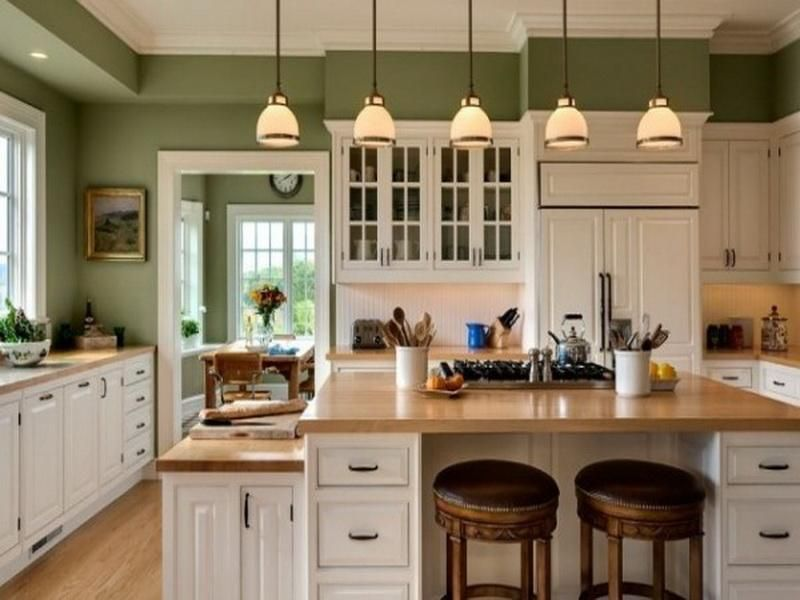 Kitchen Paint Colors: 10 Handsome Hues For Hardworking Spaces   Moss Green  Walls, White Cabinetry U0026 Butcher Block Counters