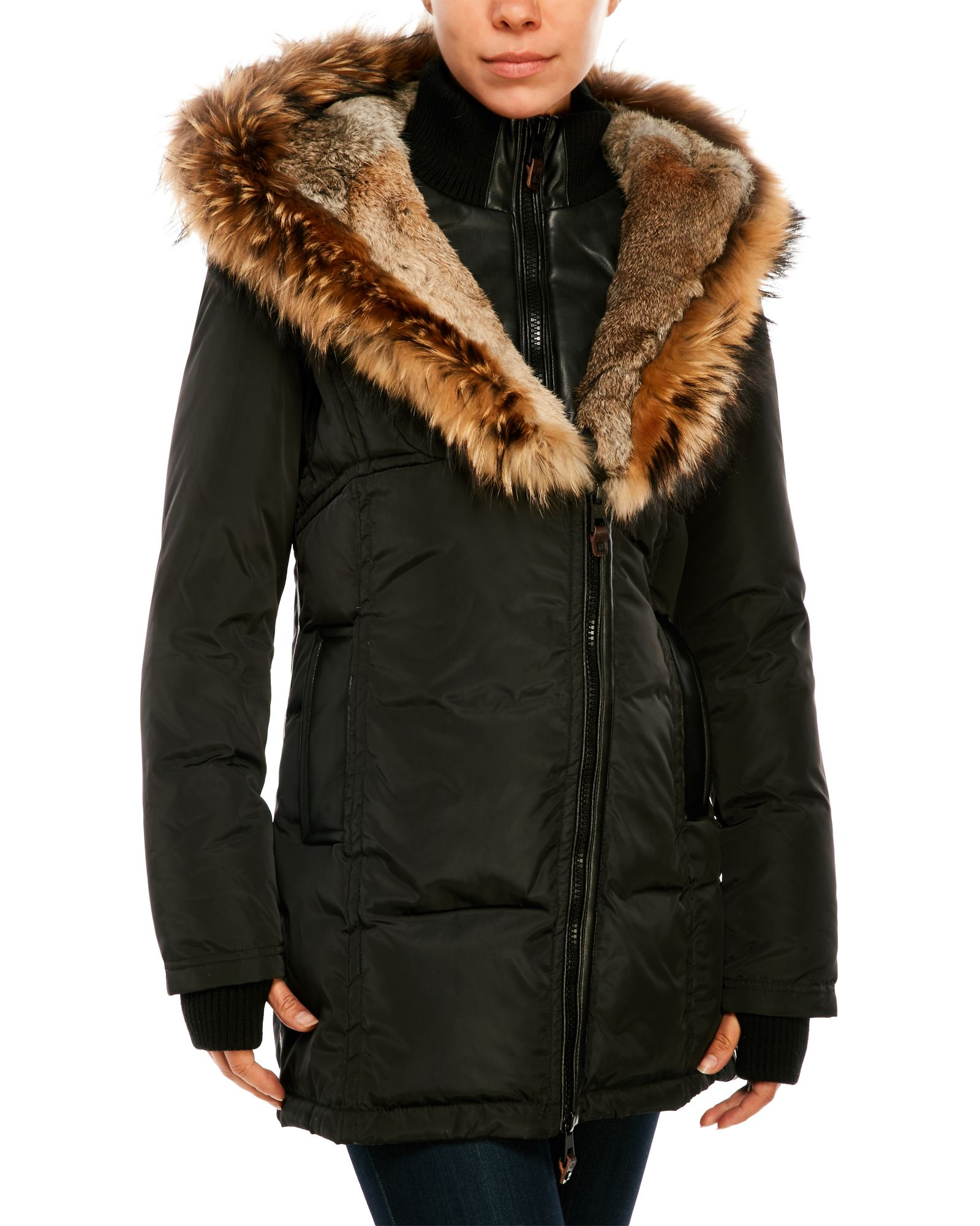 Contrasting Down Puffer Jacket With Real Fur Trim Jackets Puffer Jackets Fur Trim [ 2000 x 1600 Pixel ]