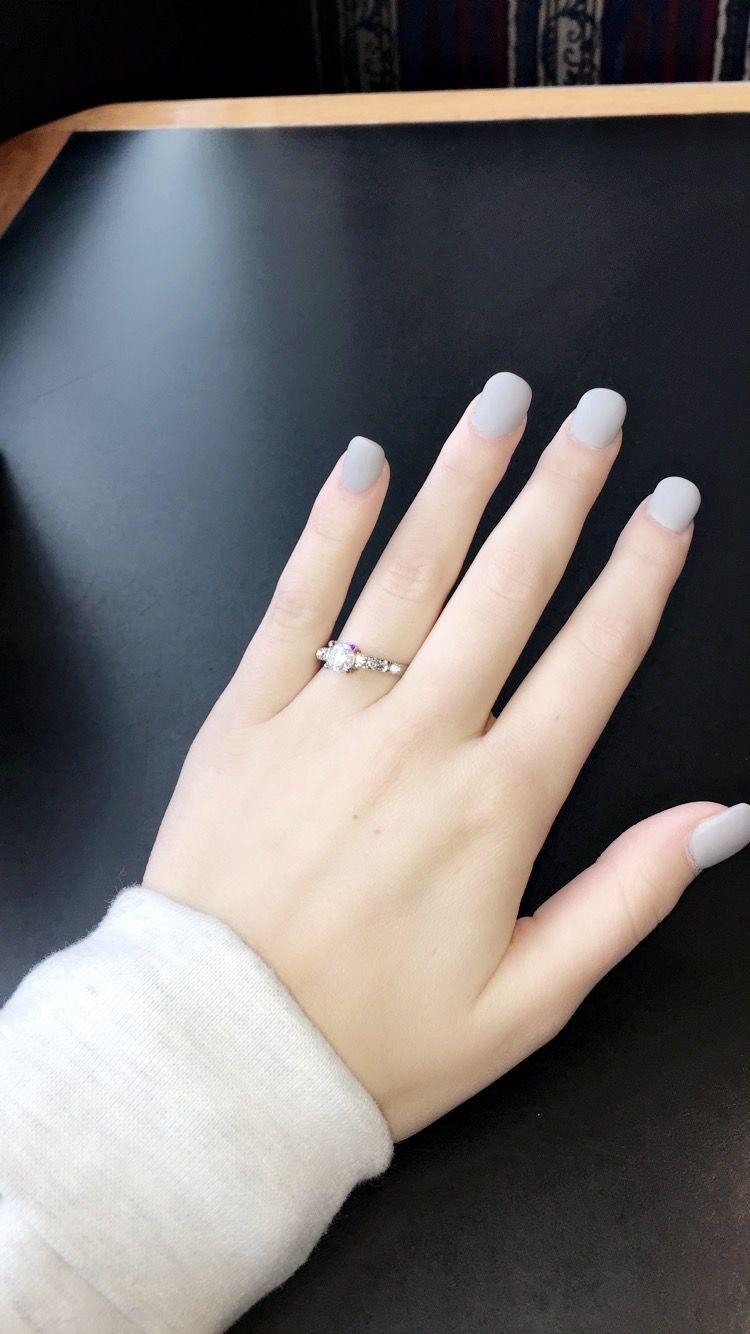 Light Grey Blue Acrylic Nails Short Short Acrylic Nails Blue Acrylic Nails Grey Acrylic Nails