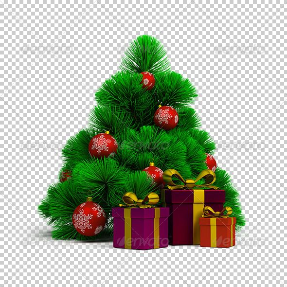 Christmas Tree, Balls And Gifts. 3d Image. Transparent