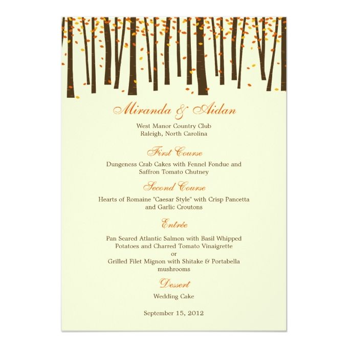 Forest Trees Wedding Menu Card - Orange - Wedding Menu Templates - best of invitation cards for wedding price