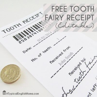 tooth fairy receipt printable - adorable! Printables, Templates - printable receipts free