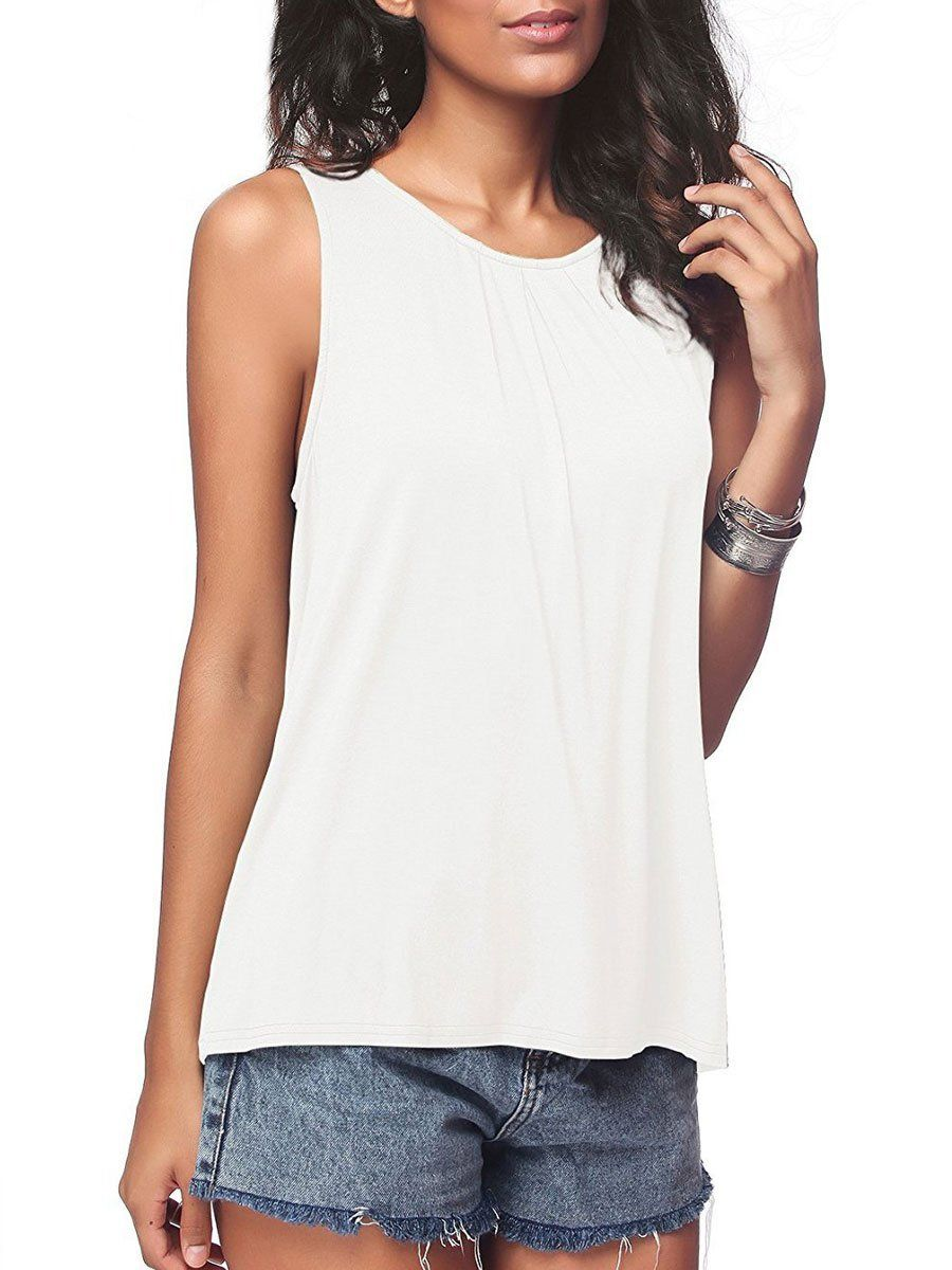 iGENJUN Womens Summer Sleeveless Pleated Back Closure Casual Tank Tops