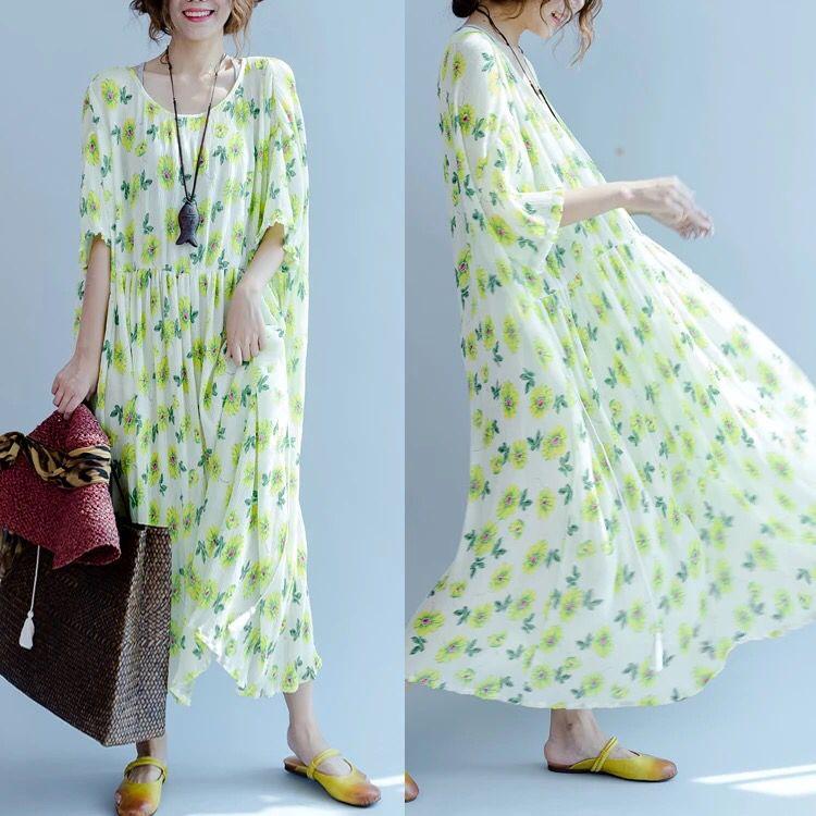 Green loose big size dress