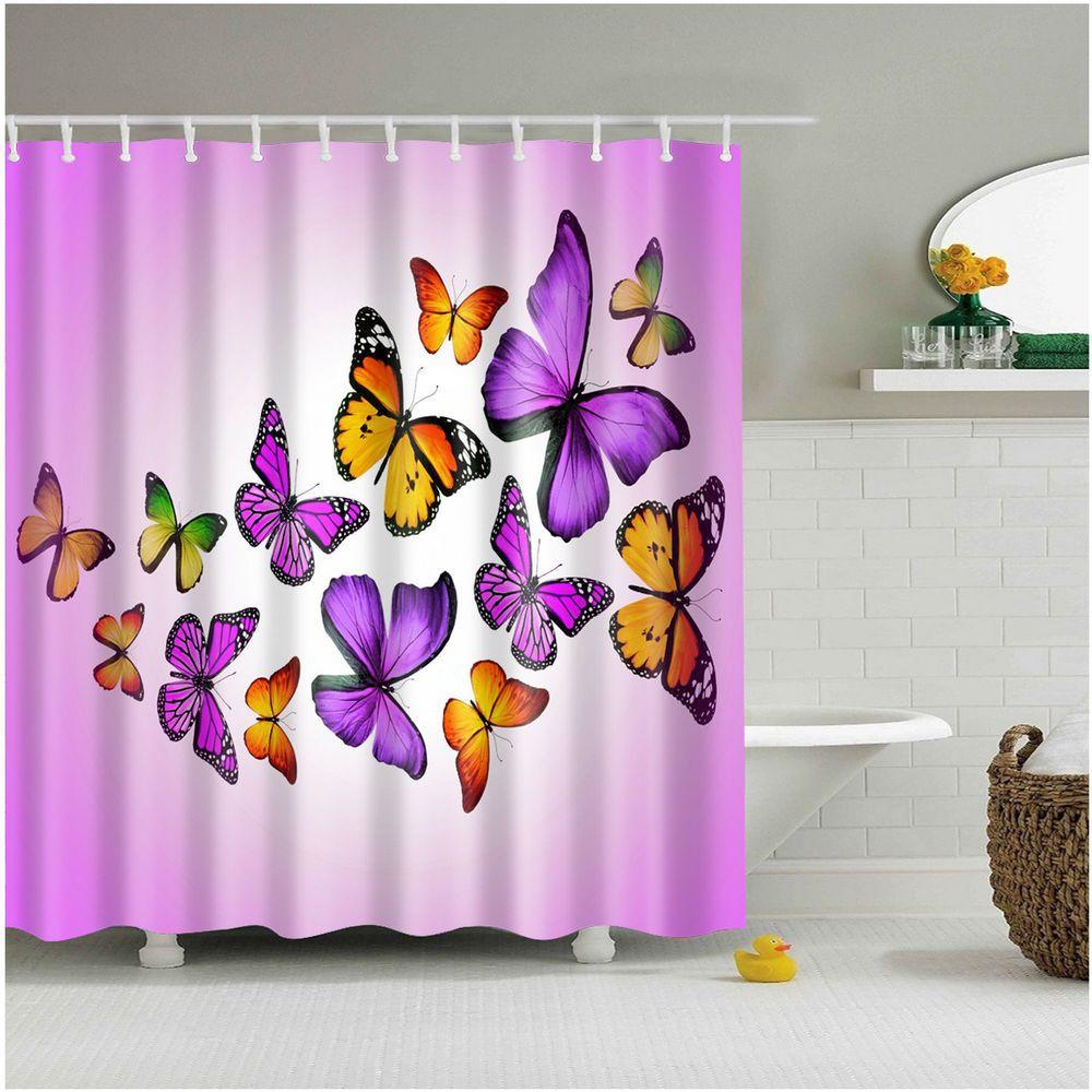 Details About Shower Curtain Art Bathroom Decor Flying Butterflies
