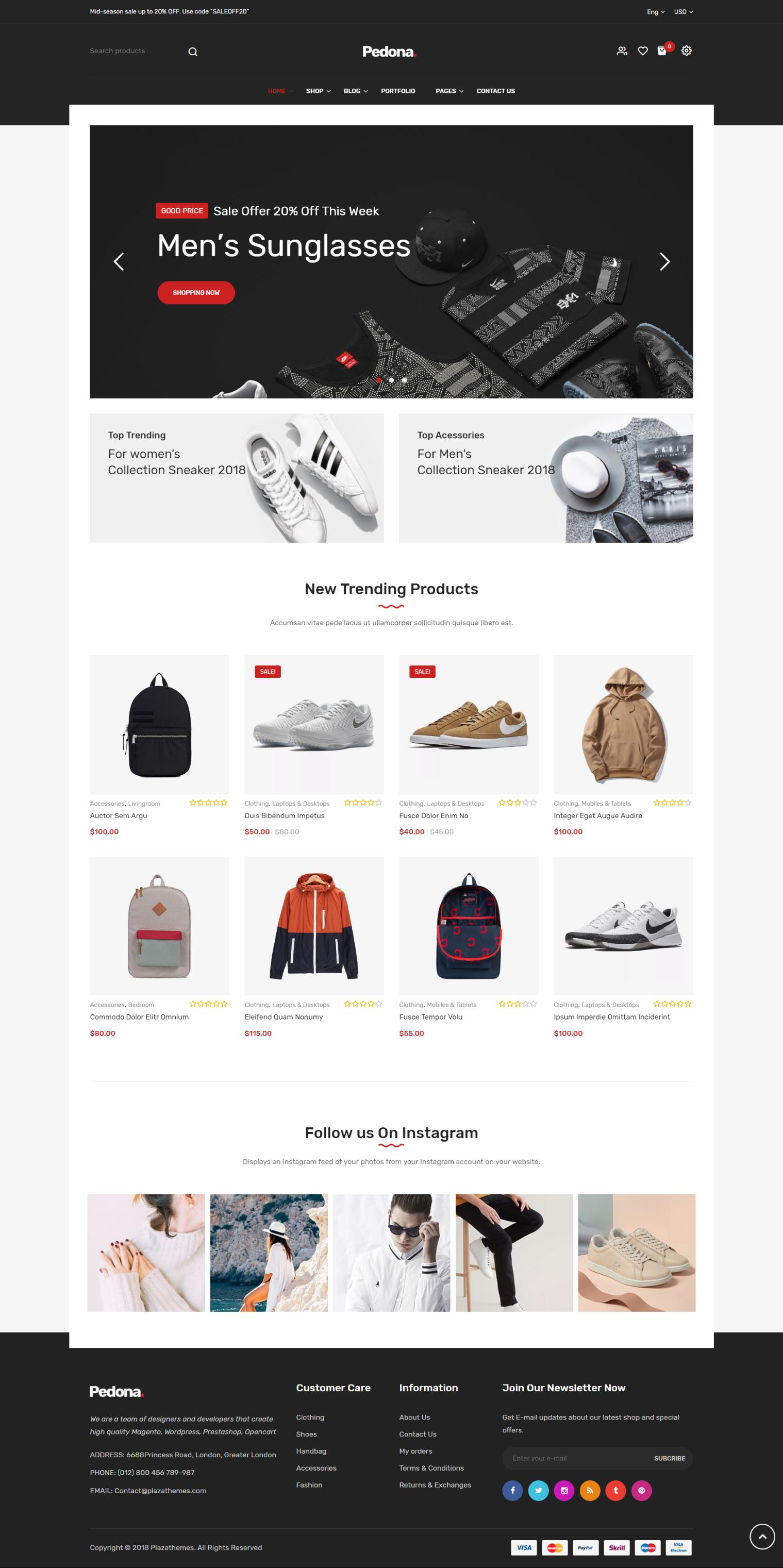 Pedona - Fashion & Sport Theme for WordPress by Plaza-Themes on Envato Elements
