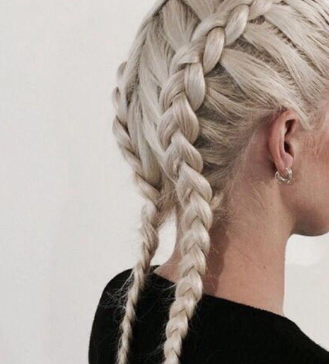 Two Braided Plaits Tight Pull Back White Hair Tightboxerbraids Hair Styles Hair Inspiration Braided Hairstyles