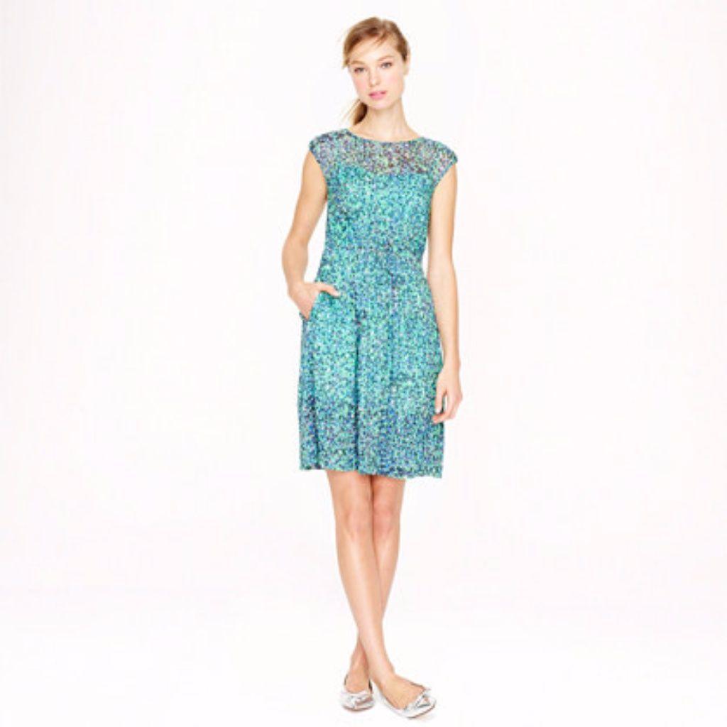 J. Crew Watercolor Dot Silk Chiffon Dress | Products