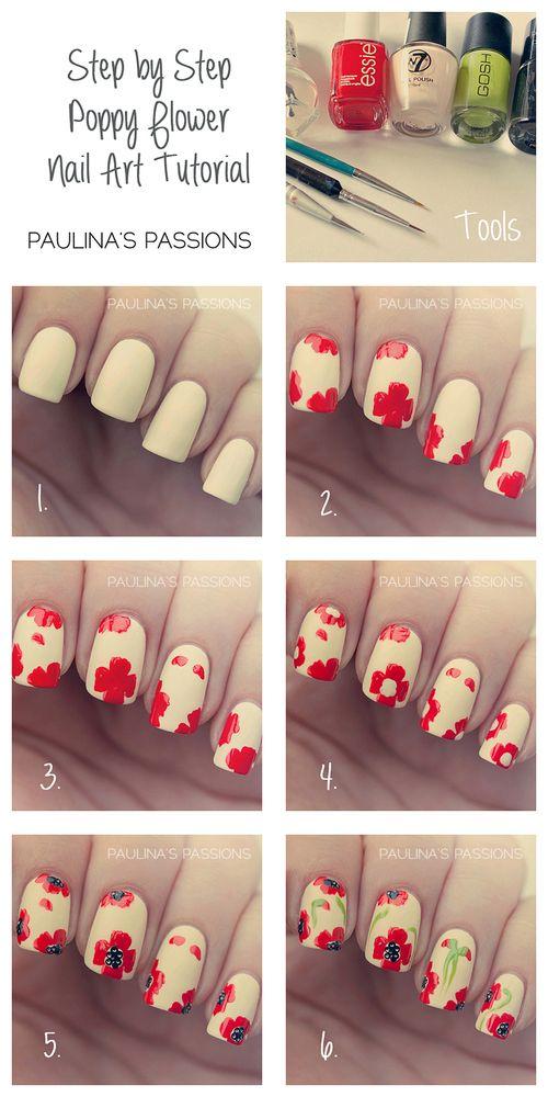 Step By Step Poppy Flower Nail Art Tutorial Nail Art Tutorials