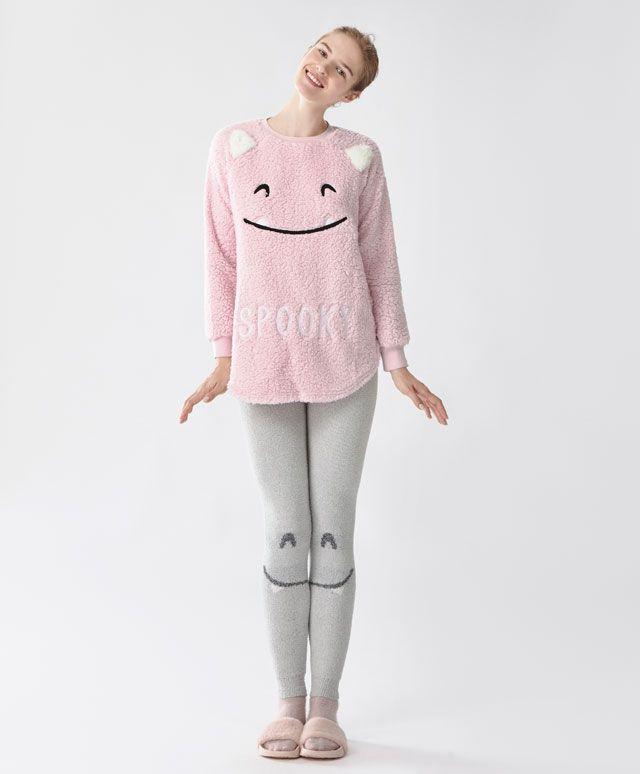 Legging met halve gezichtjes - Fleece - Autumn Winter 2016 trends in women  fashion at Oysho