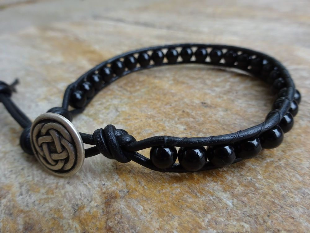 Mens Celtic Black Onyx Gemstone Single Wrap Leather Bead Bracelet Bohemian 6mm #Handmade #Beaded
