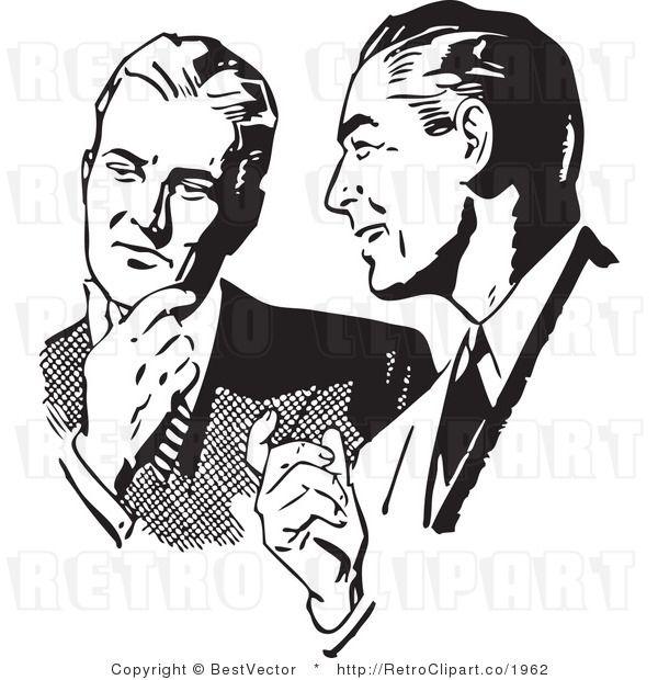 Royalty Free Black And White Retro Vector Clip Art Of Men Talking Vintage Illustration Art Clip Art Vintage Retro Poster