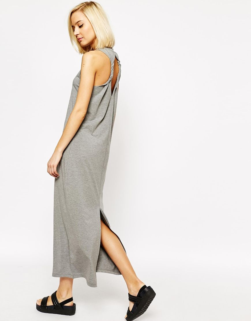 Bet this could be DIY with a razor and a long t-dress Image 4 of Vero Moda  Razor Back Twist Detail Maxi Dress ca4efa7d0f80