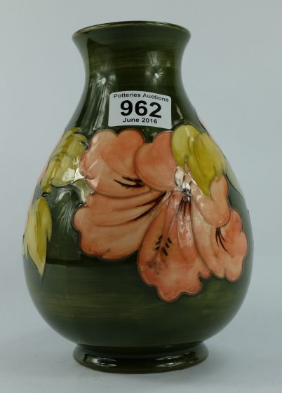 Collectors & General Auction – Lot 962 – Moorcroft Hibiscus on green ground vase 22cm.  Sale Price £55.00