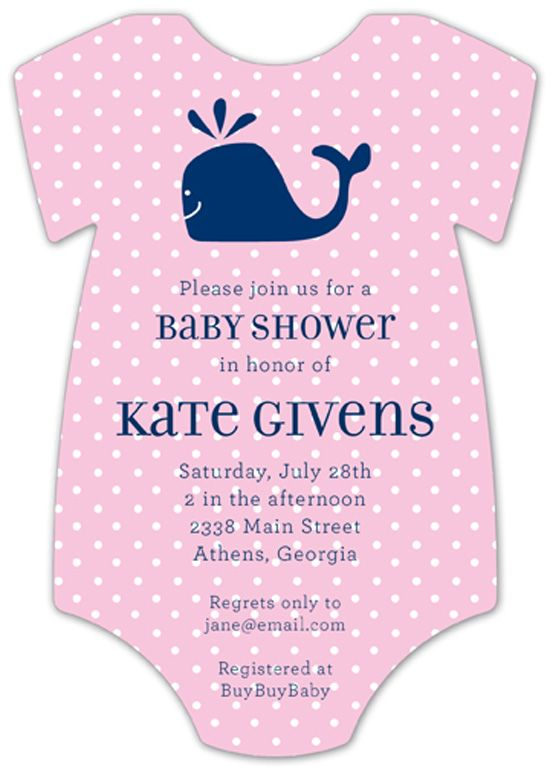 Whale Cutie Onesie baby shower invitations for girls at Polka Dot