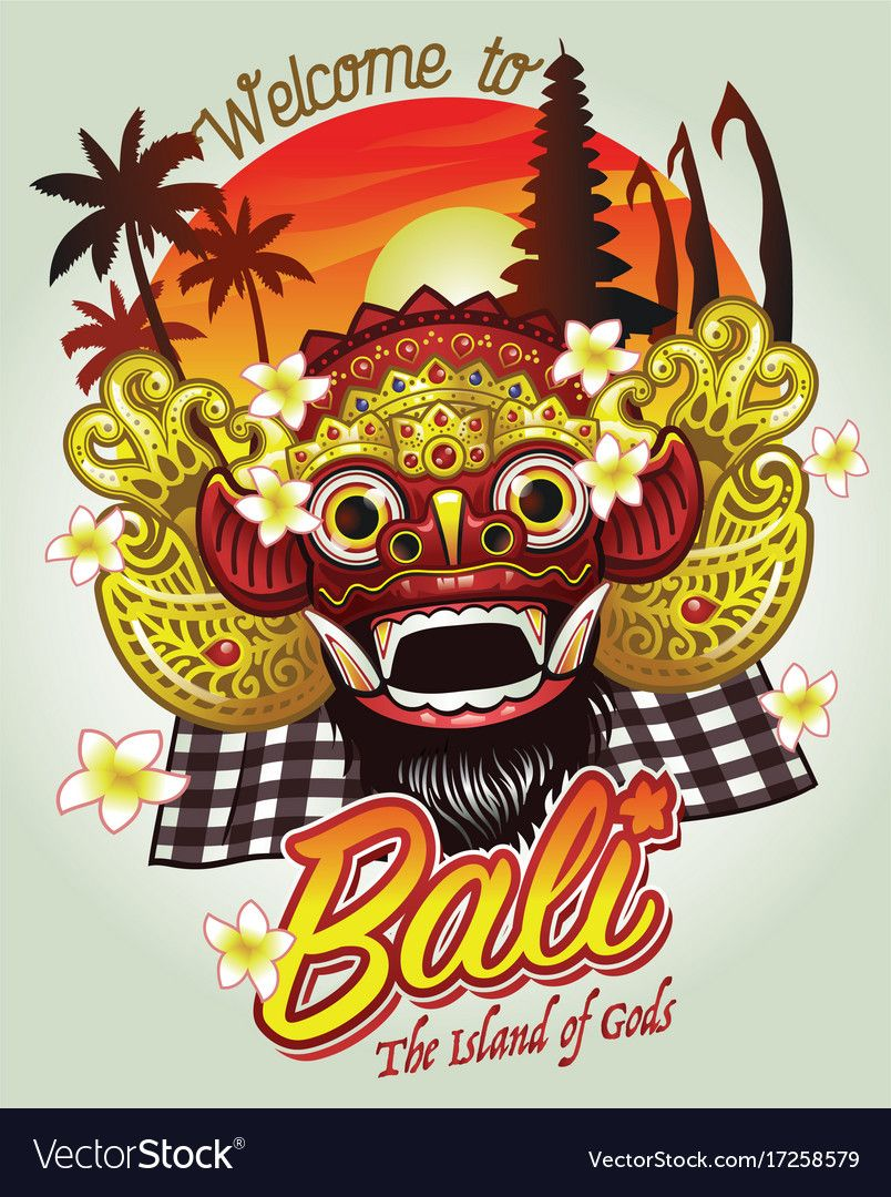 Welcome To Bali Design Vector Image On In 2019 Y Barong Barong