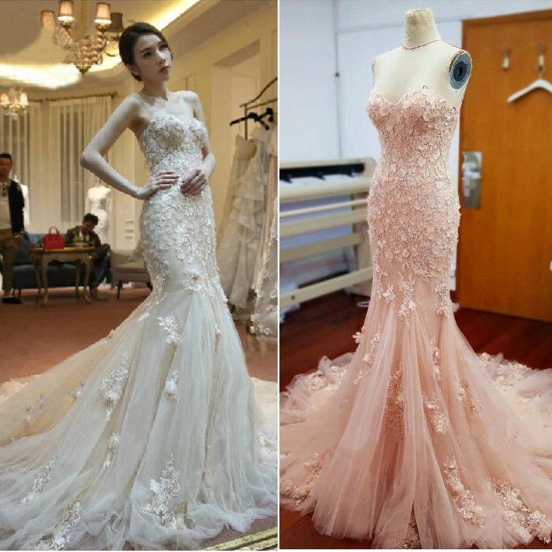 Whole Strapless Blush Wedding Dress With Fl Lace Which Is At A Now Ear Has Guaranteed Its Quality Modern Dresses