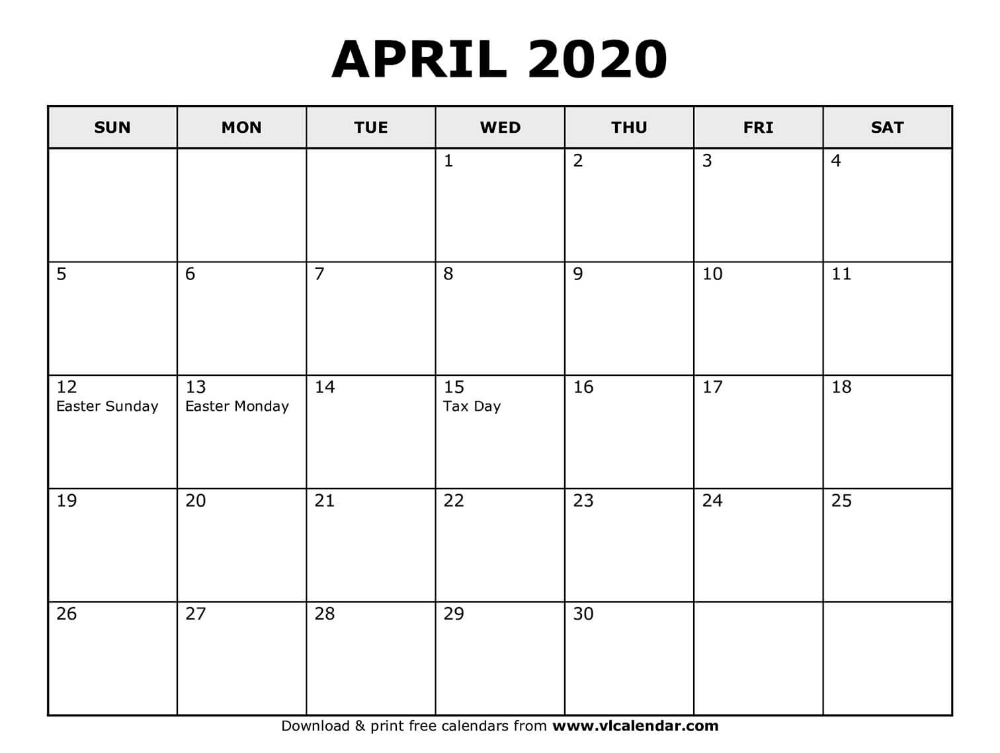 Printable April 2020 Calendar In 2020 Calendar For April 2020 Calendar Template Calendar Template