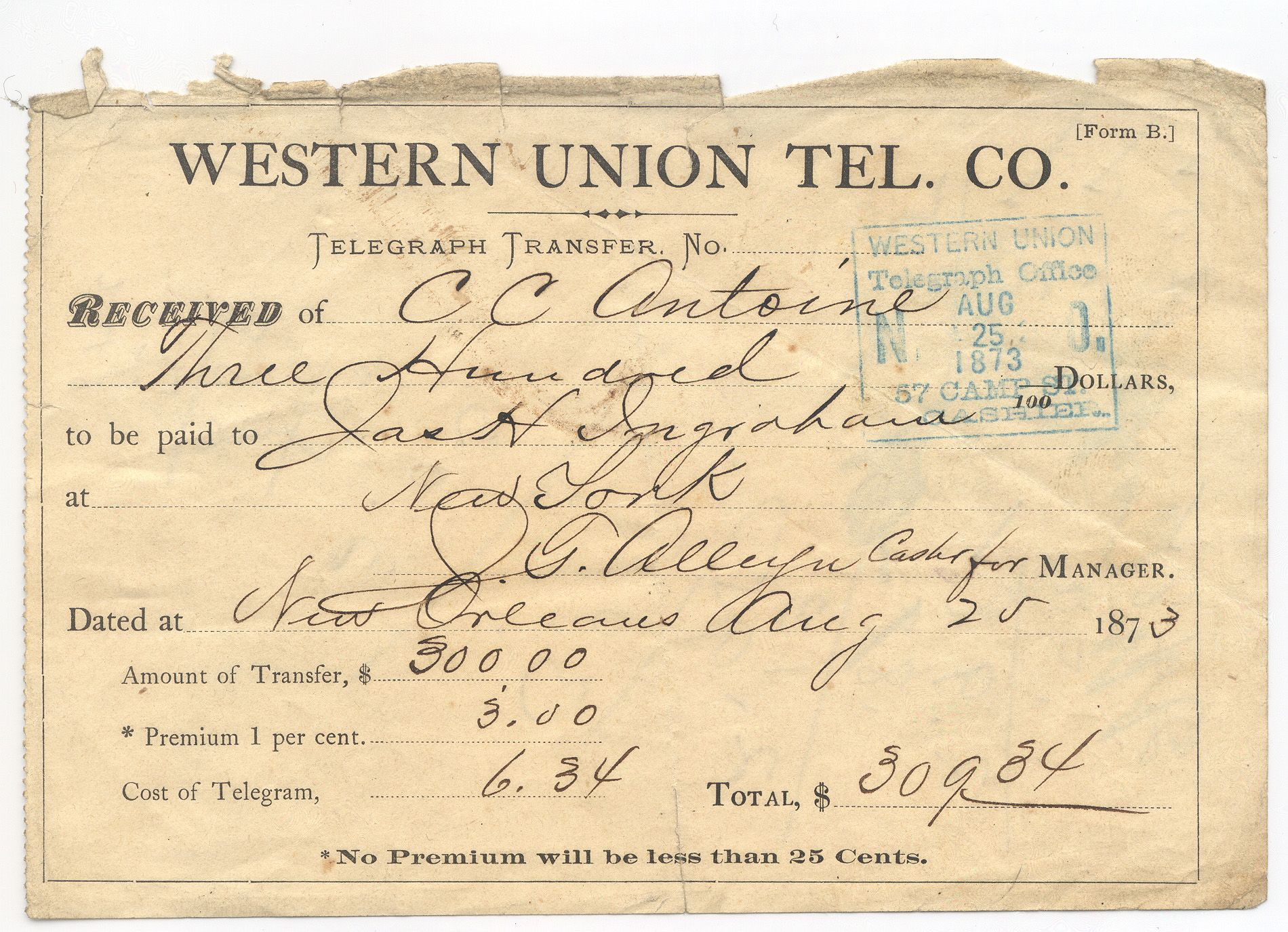 Money transfer form august 25 1873 westernunion with