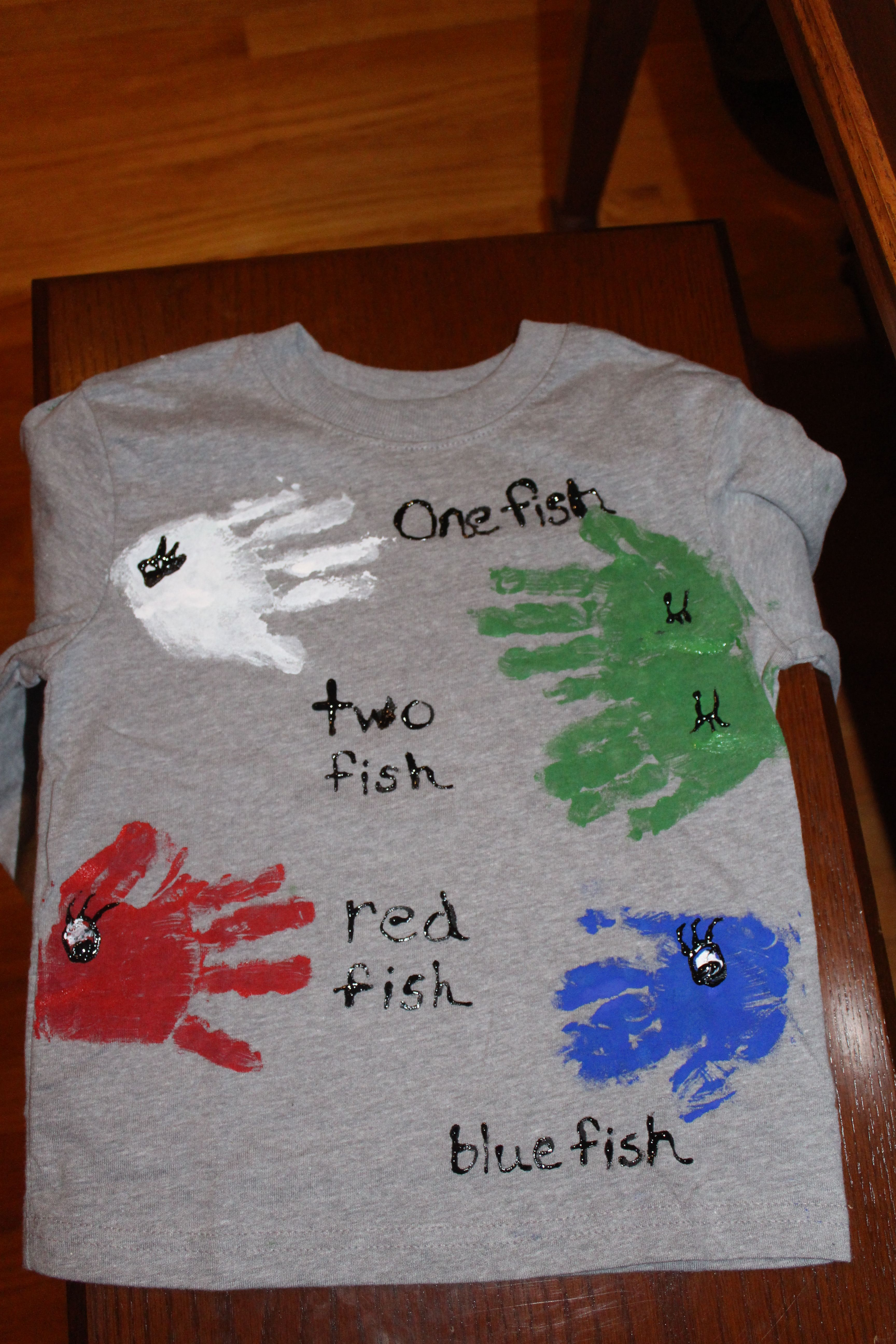 Hand Print Shirt Using One Fish Two Fish Red Fish Blue Fish Book