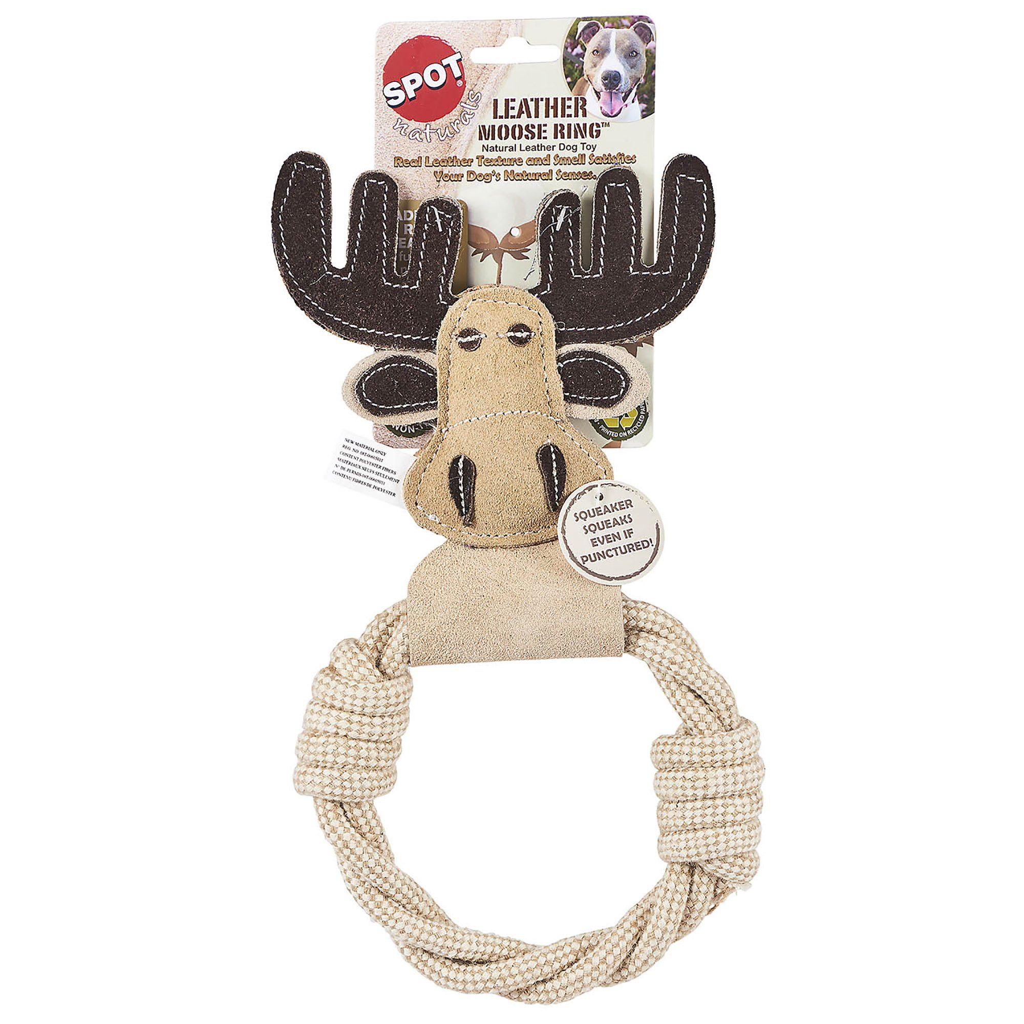 Spot Naturals Leather Moose Ring Dog Chew Toy Large Dog Chew
