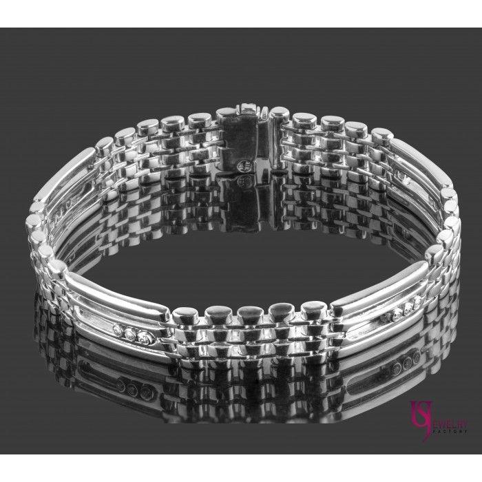 0.35 TCW Natural Diamond Bracelet Chain Link Design 14k White Gold ...