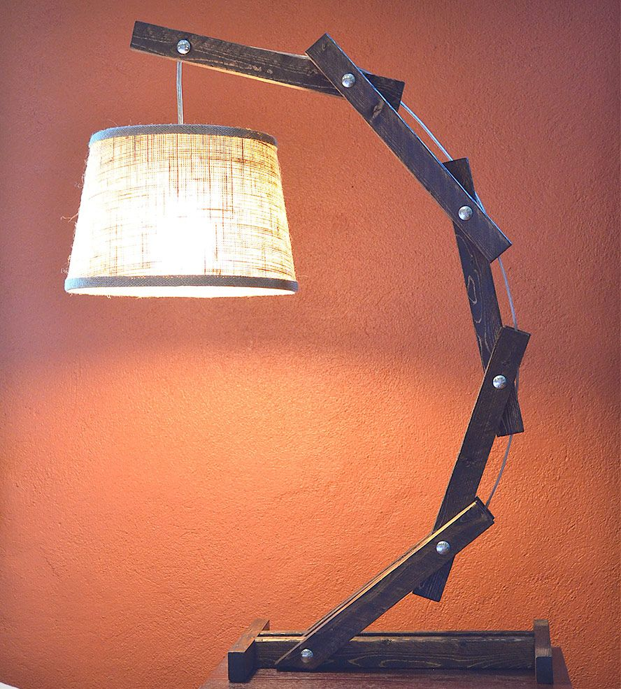 Rustic Wood Arc Floor Lamp By Awalkthroughthewoods On Etsy: This Handcrafted Cantilever Table Lamp Illuminates Your