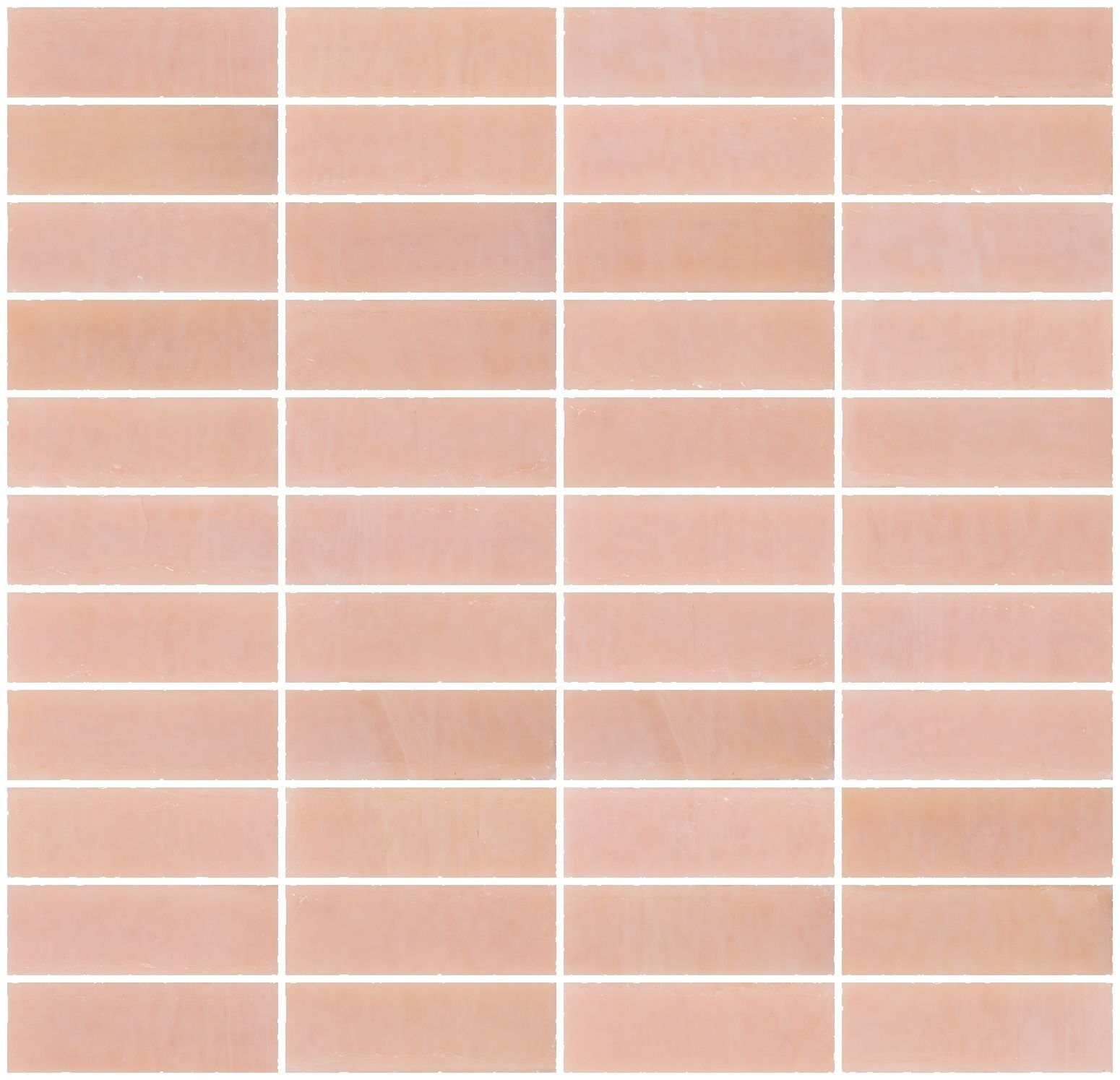 1x3 Inch Opaque Blush Pink Gl Subway Tile Stacked