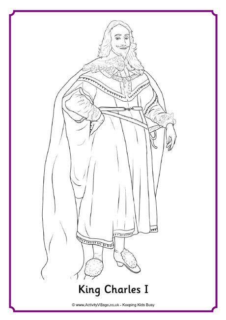 King Charles I Colouring Page With Images King Charles