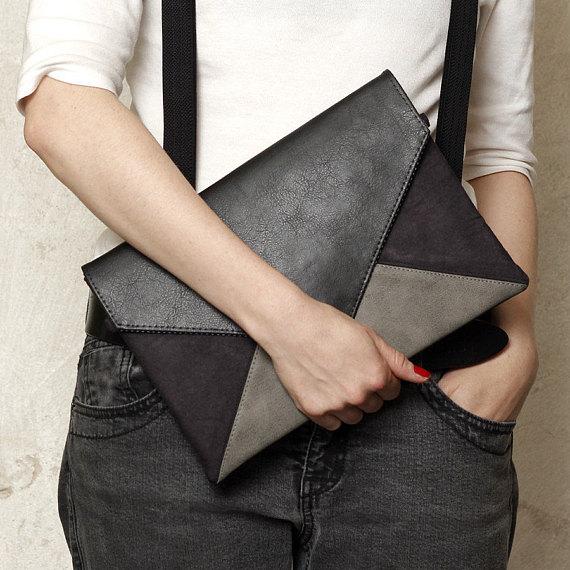 9efcbd6f017d Clutch bag Vegan leather bag Small cross body bag Black   Grey Black vegan  bag Girlfriend gift for h