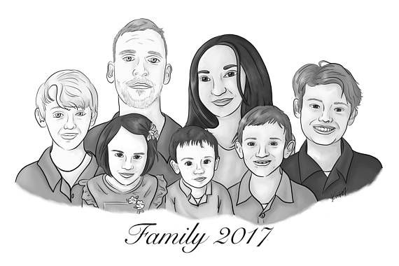 large family portrait from photo digital painting portrait maras