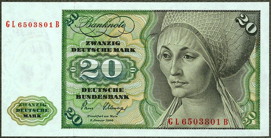 German banknotes 20 DM Deutsche Mark banknote, issued by