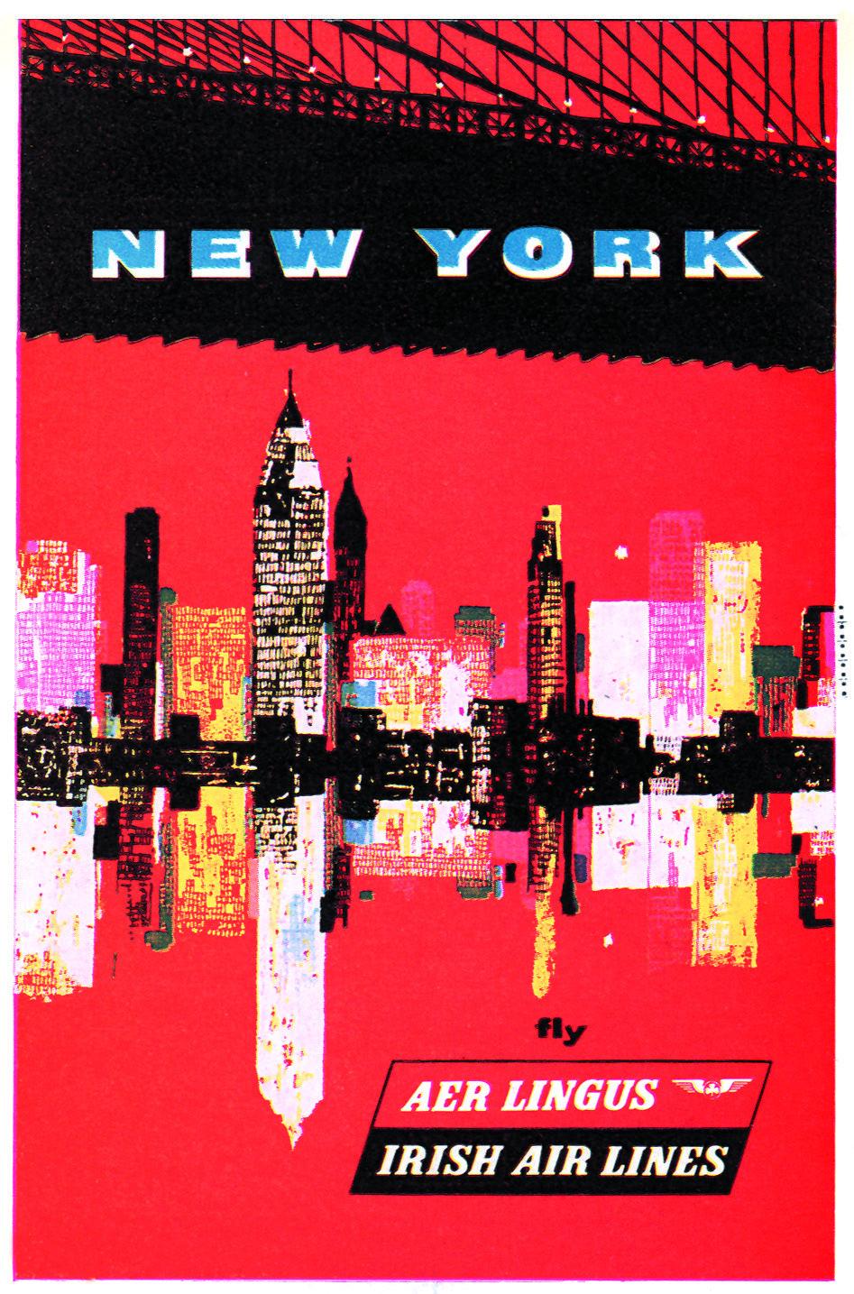 1970/'s TWA Flights to New York Manhattan Skyline Travel Poster  A3 Reprint