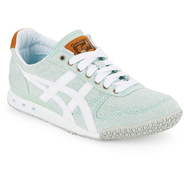 Asics Women's Ultimate 81 Leather Sneakers ($52) ❤ liked on Polyvore featuring shoes, sneakers, mint green, mint shoes, mint sneakers, genuine leather shoes, leather trainers and asics