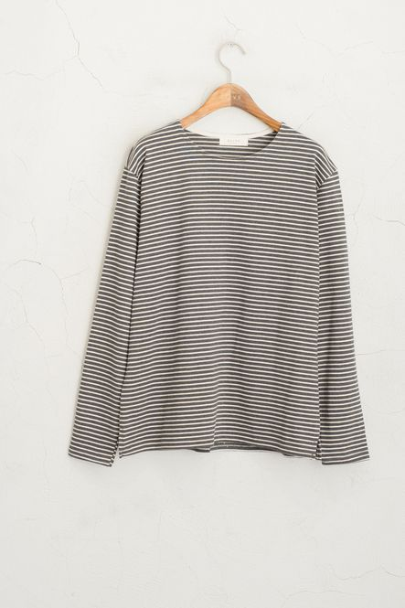 Skinny Striped Tee, Charcoal