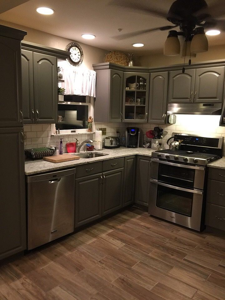 Best Sherwin Williams Gauntlet Gray Painted Cabinets Kitchen 400 x 300