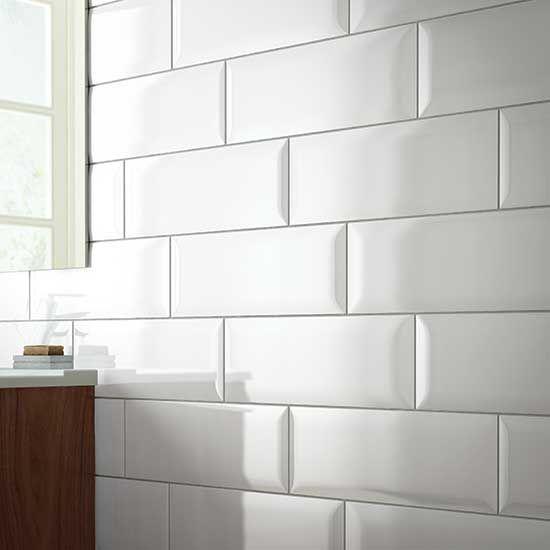 daltile white beveled subway tile