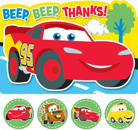 Disney Cars 1st Birthday Thank You Cards – Birthday Cards with Cars