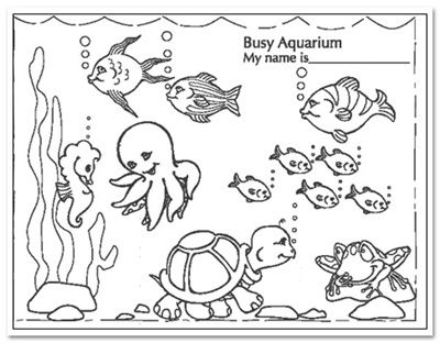 Busy Aquarium Coloring Pages for kindergarten Enjoy Coloring