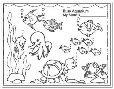Busy Aquarium Coloring Pages For Kindergarten Enjoy Coloring