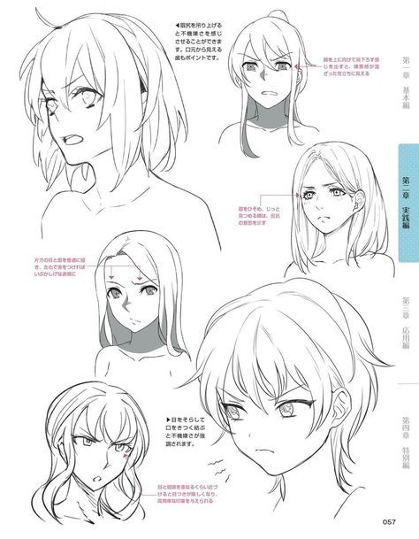 How to draw facial expressions for anime figures three quarter view anime faces drawing turorial anime character design pinterest anime face drawing