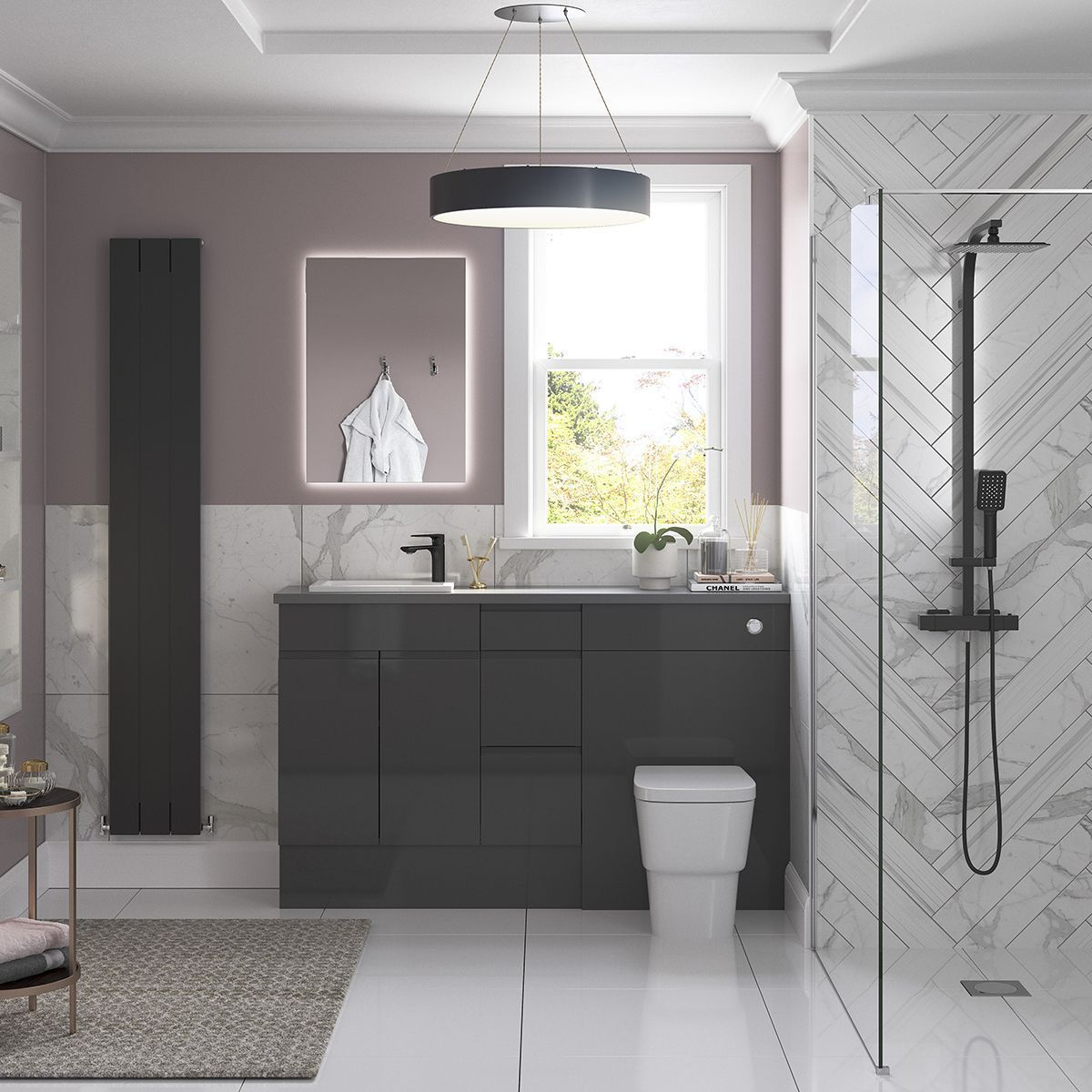 Moods Valesso Onyx Grey Gloss WC Unit 11mm  Bathroom furniture