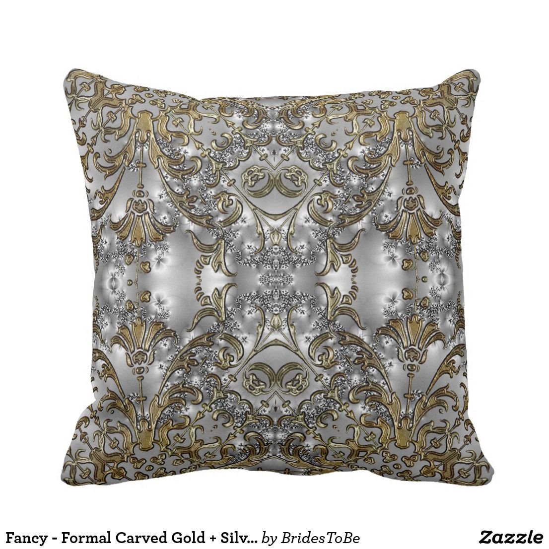 Fancy Formal Carved Gold Silver Throw Pillow Zazzle Com