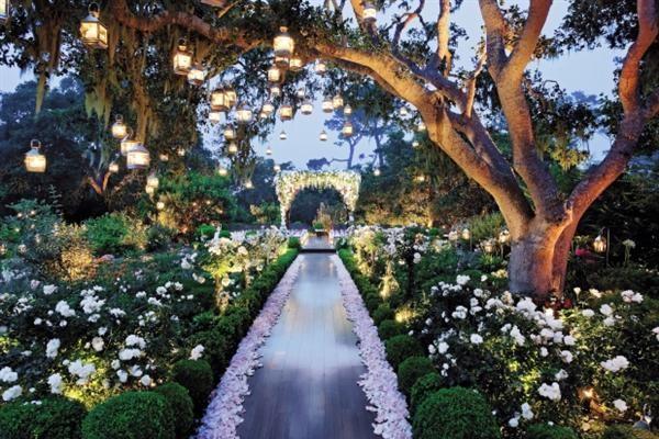 Garden at night, set for a wedding
