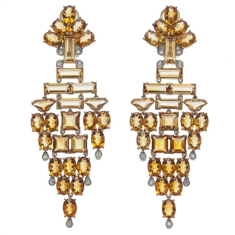 Stunning Citrine & Diamond Chandelier Earrings